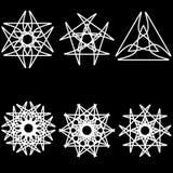 Geometrisches Muster der Astrologie gesetztes pentogramm Stockfoto