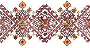 Geometrisches Muster der ukrainischen ethnischen Artkreuzstich-Stickerei Stockfotografie
