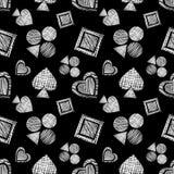 Geometrisches Muster des nahtlosen Vektors mit Ikonen von Spielkarten Hintergrund mit Hand gezeichneten strukturierten geometrisc lizenzfreie abbildung
