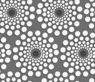 Geometrisches Muster mit Weiß punktierte konzentrische Kreise auf gra Lizenzfreies Stockfoto