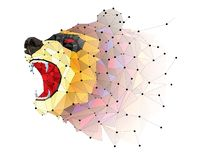 Geometrisches Muster niedrigen Polygon BÄREN VERÄRGERTER Vektor des BÄREN lizenzfreie abbildung