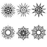Geometrisches Musterikonensternastrologie starsAstrology geometrisches Muster gesetztes pentogramm Stockfoto