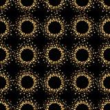 Geometrisches nahtloses Muster der goldenen Kreise Stockfotografie