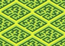 Geometrisches nahtloses Muster in der grünen und gelben Farbe lizenzfreie abbildung