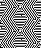 Geometrisches nahtloses Muster des Schwarzweiss-Hexagonlabyrinth-Puzzlespiels, Vektor vektor abbildung