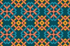Geometrisches nahtloses Muster mit keltischer Verzierung von Orange, Gelben, Blau- und Knickentenschatten vektor abbildung