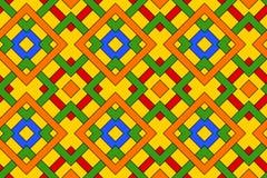 Geometrisches nahtloses Muster mit keltischer Verzierung von roten, blauen, grünen, orange und gelben Schatten stock abbildung