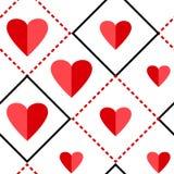 Geometrisches nahtloses Muster mit Quadraten und roten Herzen Auch im corel abgehobenen Betrag vektor abbildung