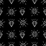 Geometrisches nahtloses Muster mit weißen linearen Diamanten Einfaches Karikaturdiamantmuster Lizenzfreie Stockfotografie
