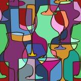 Geometrisches nahtloses Muster von Gläsern Stockfoto