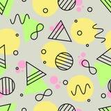 Geometrisches nahtloses Muster von grünem, rosa, gelbem und schwarzem Outl Stockbilder