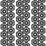 Geometrisches nahtloses Schwarzweiss-Muster mit Hexagonen vektor abbildung
