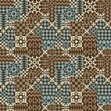Geometrisches Patchwork-Muster im Blau und in Brown Stockbilder