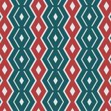 Geometrisches rotes und grünes Retro- nahtloses Muster Lizenzfreies Stockfoto