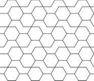 Geometrisches Schwarzweiss-Hippie-Modedesigndruck-Hexagonmuster vektor abbildung