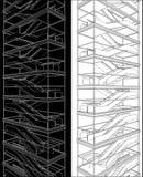 Geometrisches Treppenhaus des hohen Gebäude-Vektors Stockfotos