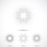 Geometrisk abstrakt form med förbindelselinjer och prickar också vektor för coreldrawillustration Royaltyfria Bilder