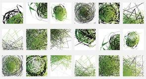 Geometrisk abstrakt illustrationuppsättning 18 olika konstnärligt royaltyfri illustrationer