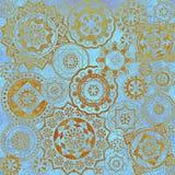 Geometrisk abstrakt modell, texturerad blå guld- bakgrund Royaltyfri Fotografi