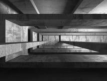 Geometrisk arkitekturbakgrund Tom inte för mörkerbetongrum Royaltyfri Foto