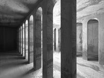 Geometrisk arkitekturbakgrund Tom inte för mörkerbetongrum Royaltyfria Foton