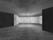 Geometrisk arkitekturbakgrund Tom inte för mörkerbetongrum Royaltyfria Bilder