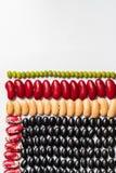 Geometrisk b?namodell Mångfärgade skidfrukttexturer: njurebönor, blåtira, pinto, lins fotografering för bildbyråer
