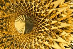 Geometrisk bakgrund för abstrakta futuristiska guld- grova spikar, illustration 3d stock illustrationer