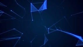 Geometrisk bakgrund för livliga abstrakt begreppblått med flyttninglinjer, triangels och prickar stock video