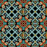 Geometrisk bakgrund för PIXEL i för modellvektor för retro stil sömlös illustration Arkivfoto