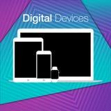 Geometrisk bakgrund för moderna digitala apparatuppsättningar Arkivbilder