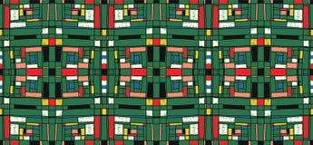 Geometrisk bakgrund i Mondrian rasterstil Pop Art Pattern Sömlös prydnad med abstrakta fyrkanter royaltyfri illustrationer