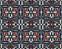 Geometrisk bakgrund i Mondrian rasterstil Pop Art Pattern Sömlös prydnad med abstrakta fyrkanter stock illustrationer