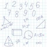 Geometrisk bakgrund med diagram och formler Arkivfoto