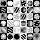 Geometrisk bakgrund med prickiga och randiga cirklar Fotografering för Bildbyråer