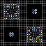 Geometrisk beståndsdelvektormodell Hipstermodestil Modell av att upprepa färgade fyrkanter vektor illustrationer