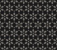 Geometrisk blom- modell för vektor Svartvit sömlös textur royaltyfri illustrationer