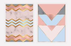 Geometrisk design för mode med rosa guld- folie- och marmortextur Modern bakgrund för kort, beröm, reklamblad, socialt massmedia, royaltyfri illustrationer