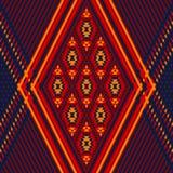 Geometrisk etnisk illustration för färgrik röd prydnad för gulingblått aztec, vektor Royaltyfria Bilder