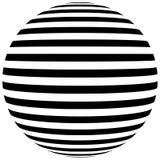Geometrisk form för abstrakt svartvit randig sfär Arkivbilder