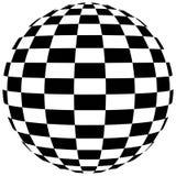Geometrisk form för abstrakt svartvit rutig sfär arkivfoton
