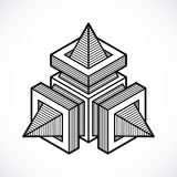 Geometrisk form för abstrakt vektor, polygonal form 3D Arkivbilder