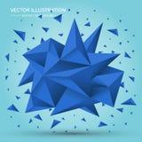 Geometrisk form för volym Abstrakt polygonal geometrisk form kristaller för blått 3d Royaltyfri Bild
