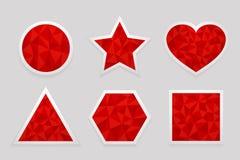 Geometrisk form från trianglar var kan planlägga illustrationetiketter, red somseten använde ditt Fotografering för Bildbyråer