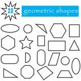Geometrisk formuppsättning av 20 symboler Populära plana geometriska diagram samling Royaltyfri Foto