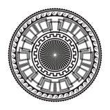 Geometrisk forntida rund prydnad Vektor isolerade svarta slingringar vektor illustrationer