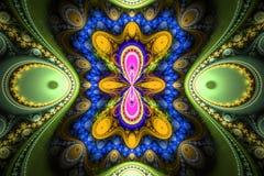 Geometrisk fractalform kan illustrera att dagdrömma för psykedeliska frekvens för explosion utrymmedrömmar för fantasi magisk royaltyfri illustrationer
