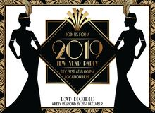 Geometrisk Gatsby Art Deco Style New Year partiinbjudan för 2019 royaltyfri illustrationer