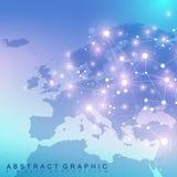 Geometrisk grafisk bakgrundskommunikation med den Europa översikten Arkivbild