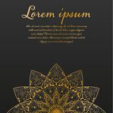 Geometrisk guld- logomall Guld- arabiskt dekorativt symbol för vektor på svart bakgrund Vektorblommamandala Tappning stock illustrationer